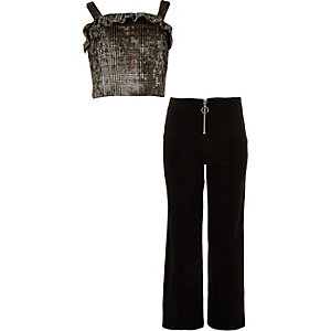 Girls brown check bralet and trouser outfit