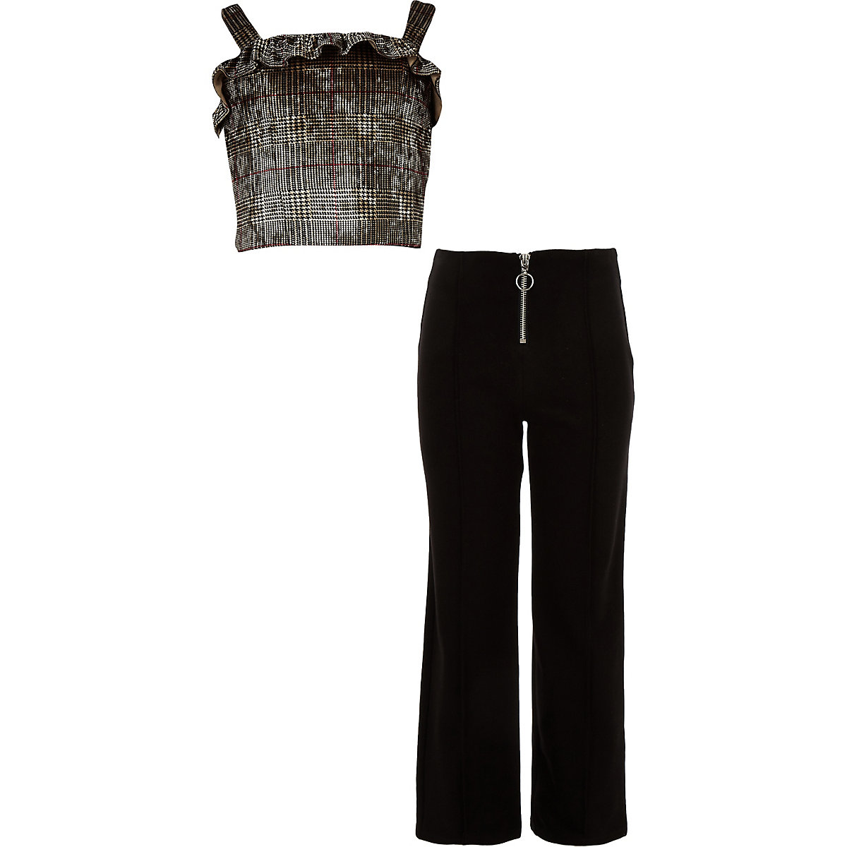 Girls brown check top and pant outfit