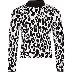 Girls white leopard print jumper