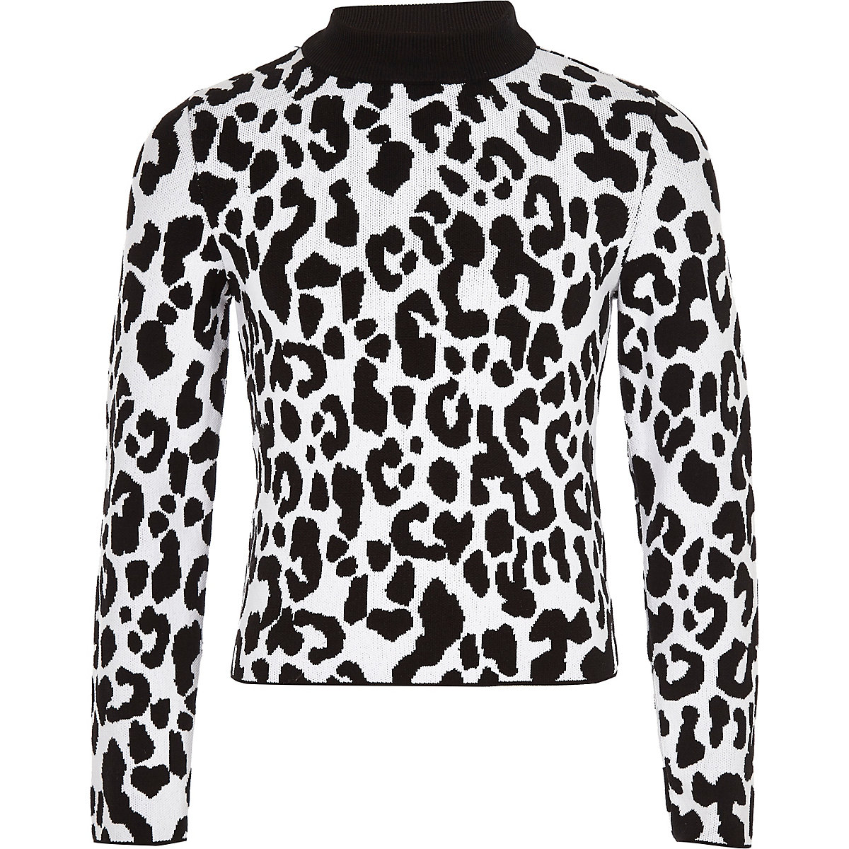 Girls white leopard print sweater