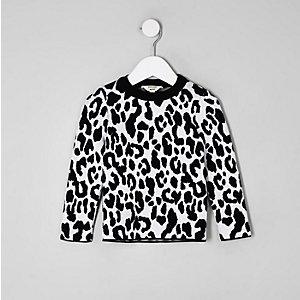 Mini - Witte pullover met luipaardprint voor meisjes