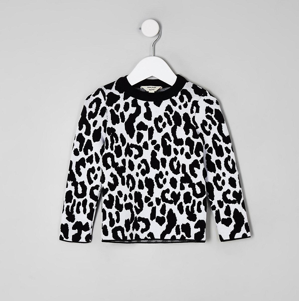 Mini girls white leopard print sweater