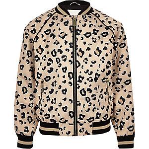 Beige bomberjack met luipaardprint voor meisjes