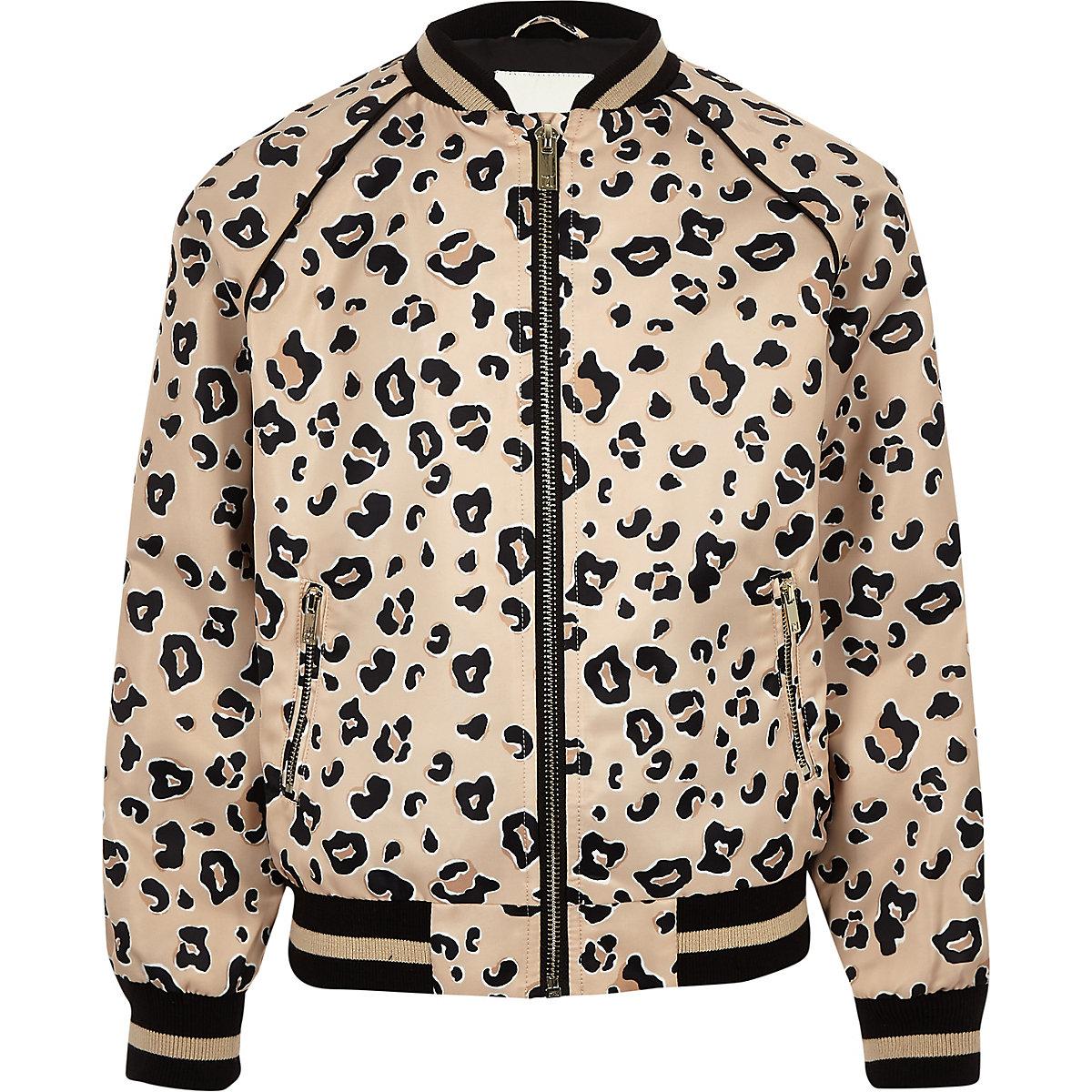 Girls beige leopard print bomber jacket