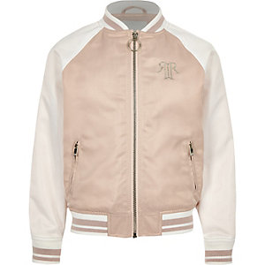 Girls pink block satin bomber jacket