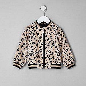 Beige Bomberjacke mit Leoparden-Print