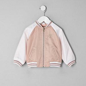 Mini girls pink block satin bomber jacket
