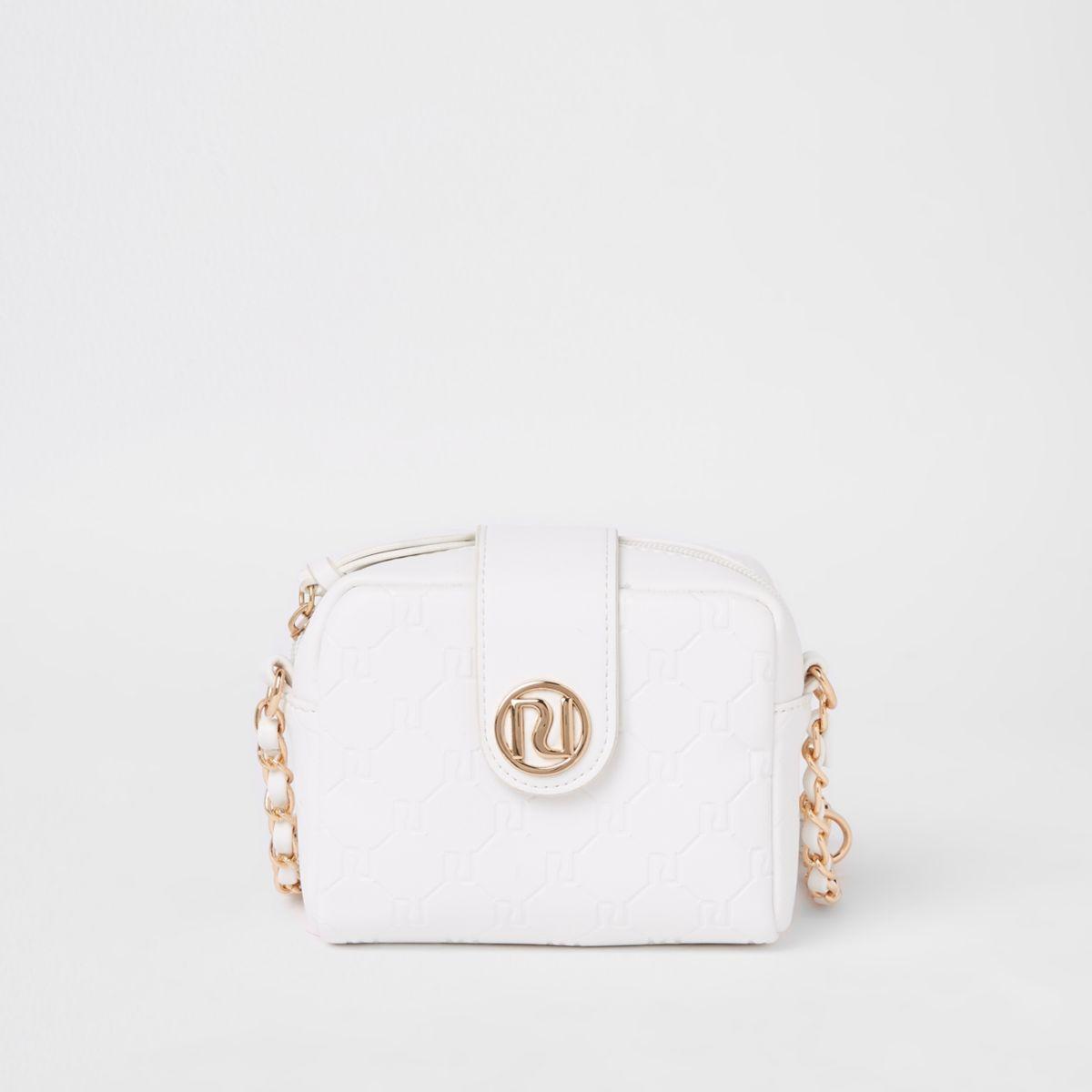 Girls white RI monogram cross body bag