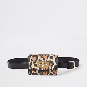 Leopard print belt bum bag