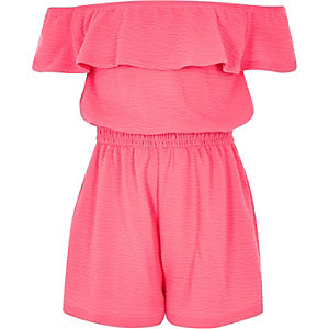 Girls bright pink frill bardot playsuit