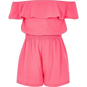 Girls bright pink frill bardot romper