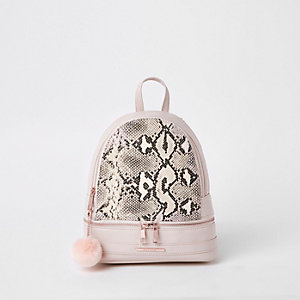 Girls pink snake print backpack