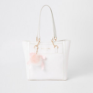 Girls white RI monogram shopper bag