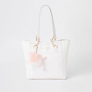 Weiße Shopper-Tasche mit RI-Monogramm