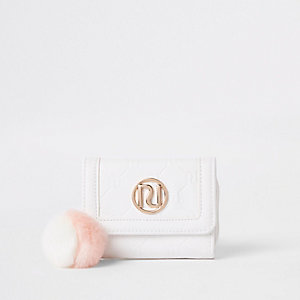 Girls white RI monogram trifold purse