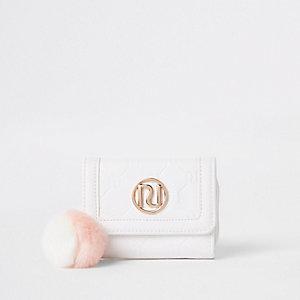 Witte portemonnee met RI-monogram voor meisjes