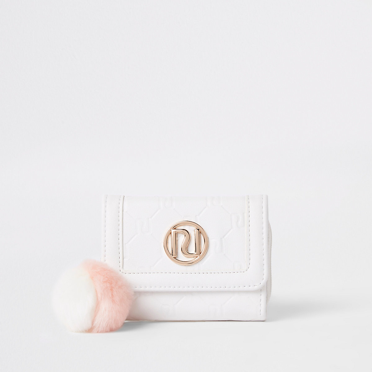 Girls white RI monogram trifold purse