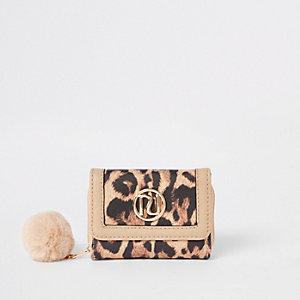 Bruine vouwportemonnee met luipaardprint voor meisjes