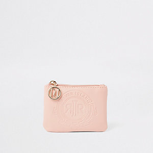 Girls pink RI embossed zip purse