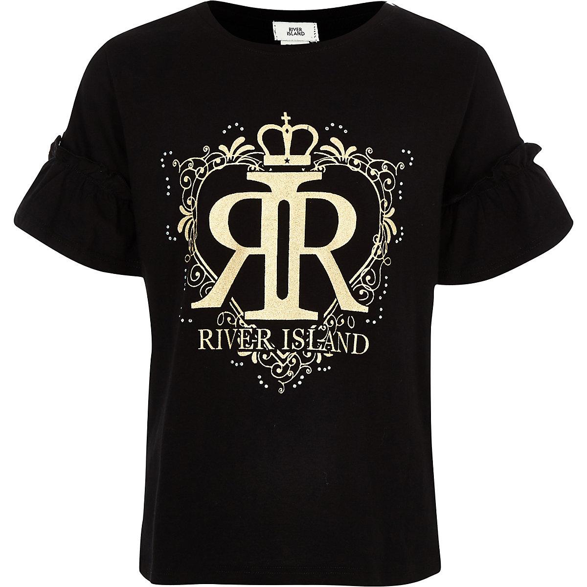 Girls black RI frill T-shirt