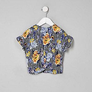 Mini - Zwart gestreept T-shirt met bloemenprint voor meisjes