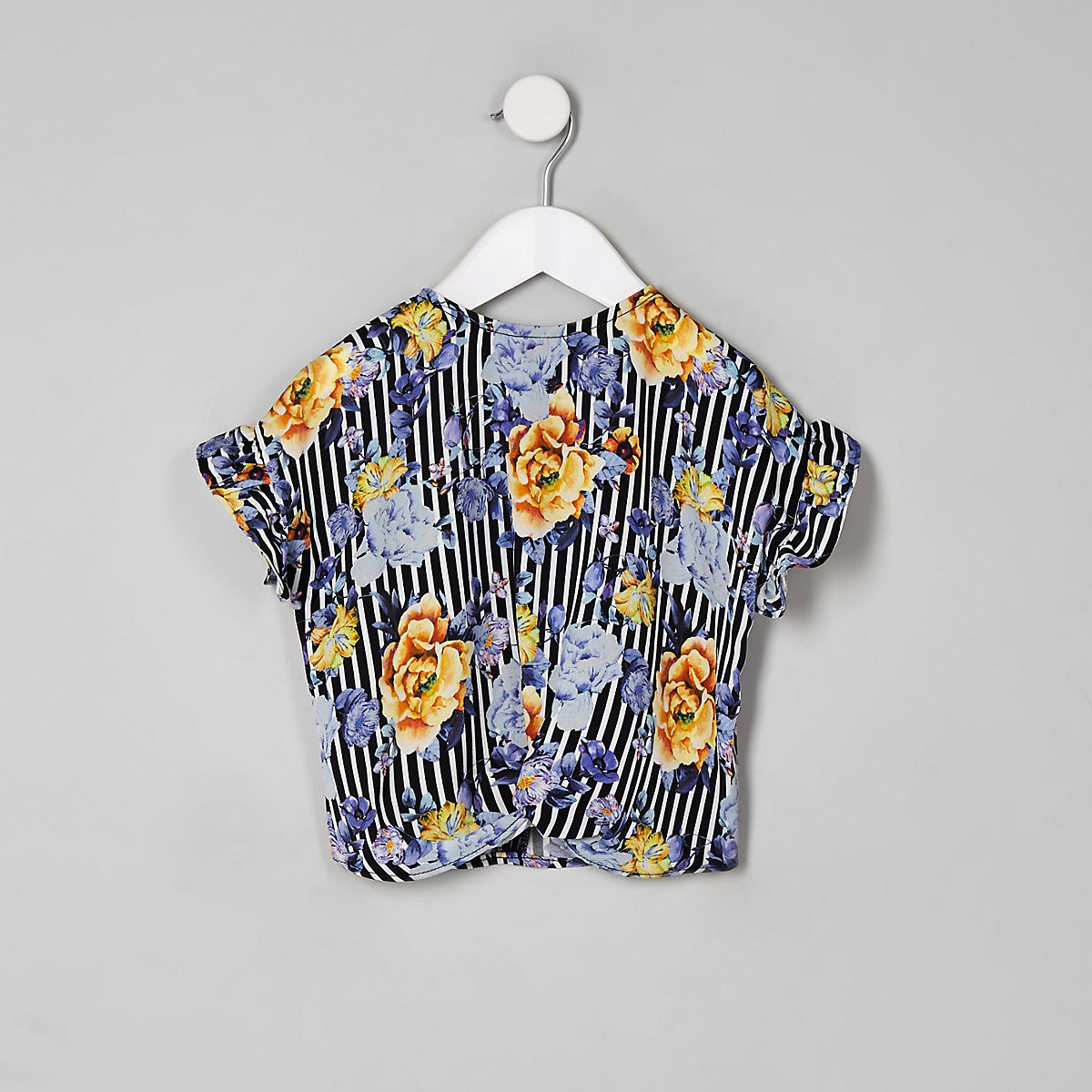 Mini girls black floral stripe T-shirt