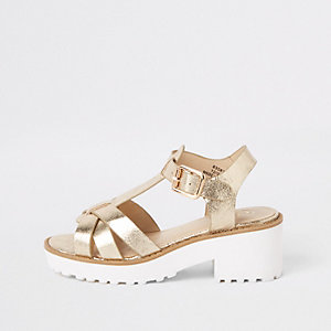 Girls gold metallic clumpy sandals