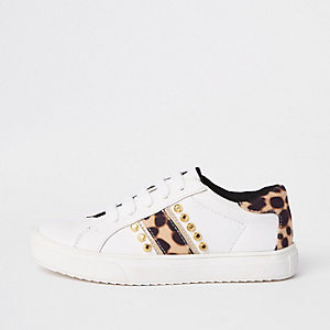 Girls white leopard studded plimsolls