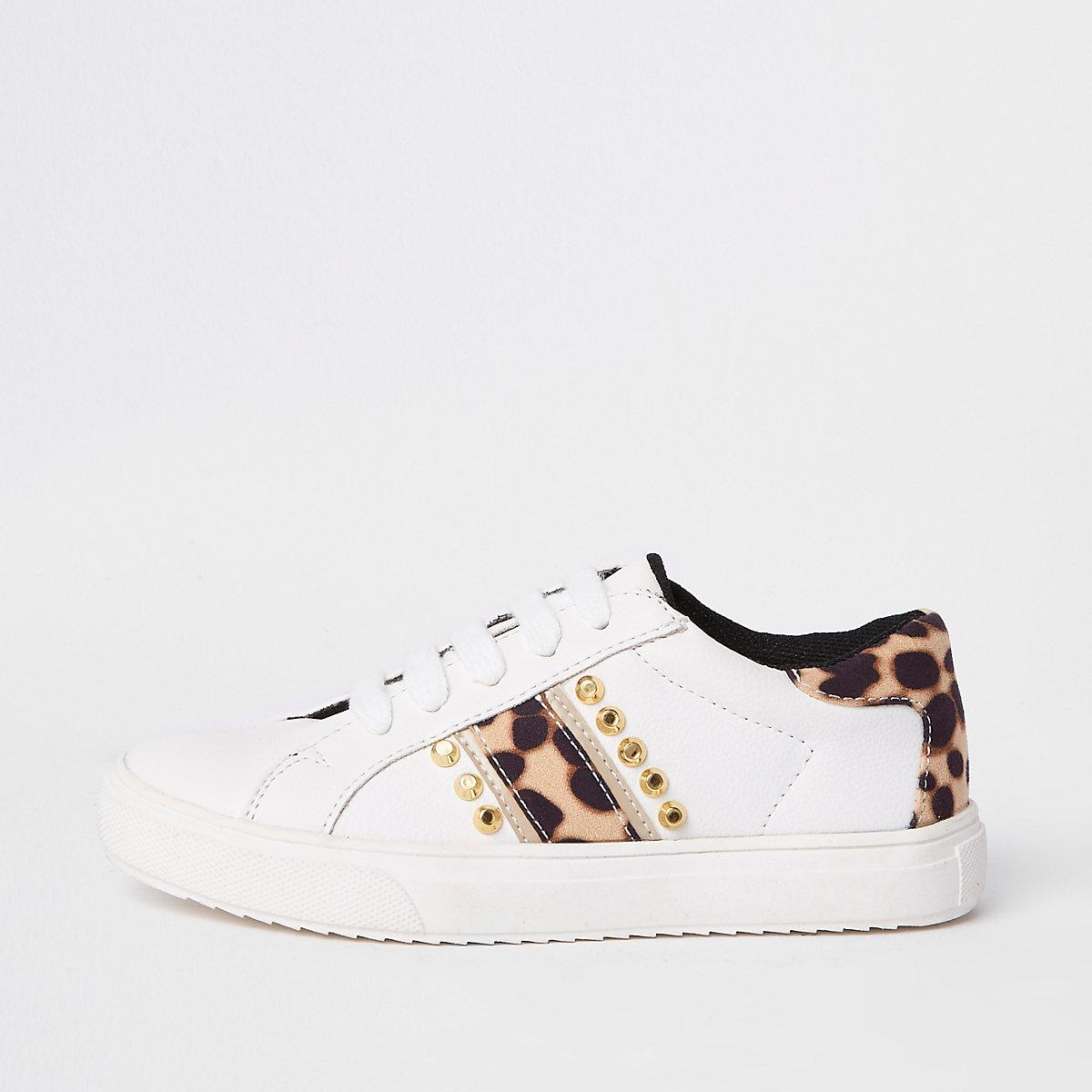 Girls white leopard studded plimsolls