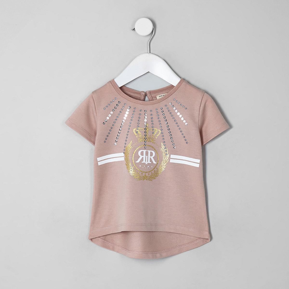 Mini girls RI Active beige sequin T-shirt