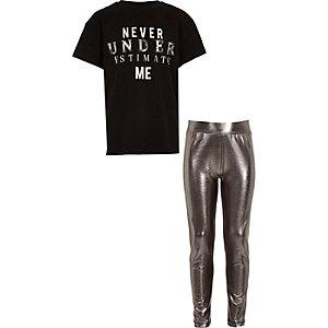 Girls black 'Never under estimate me' T-shirt
