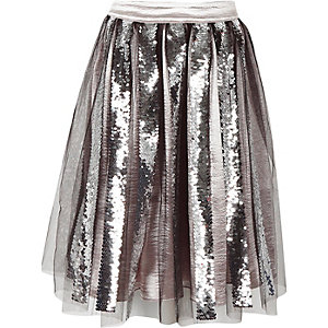 Girls black sequin midi skirt