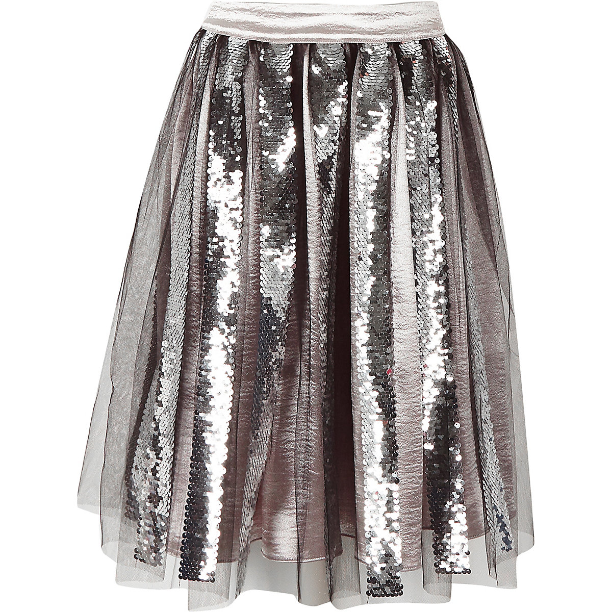 Girls black sequin midi skirt