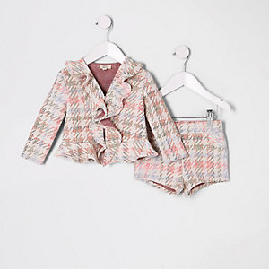 Mini girls pink multi boucle short outfit