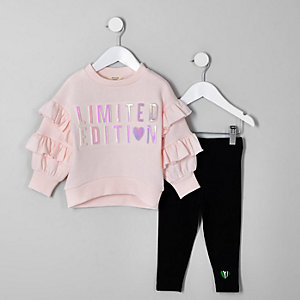 Mini girls pink embossed sweatshirt outfit