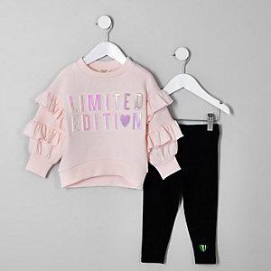 Mini - Outfit met roze sweatshirt voor meisjes