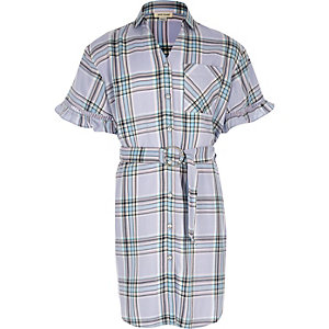 Girls purple check belted shirt dress