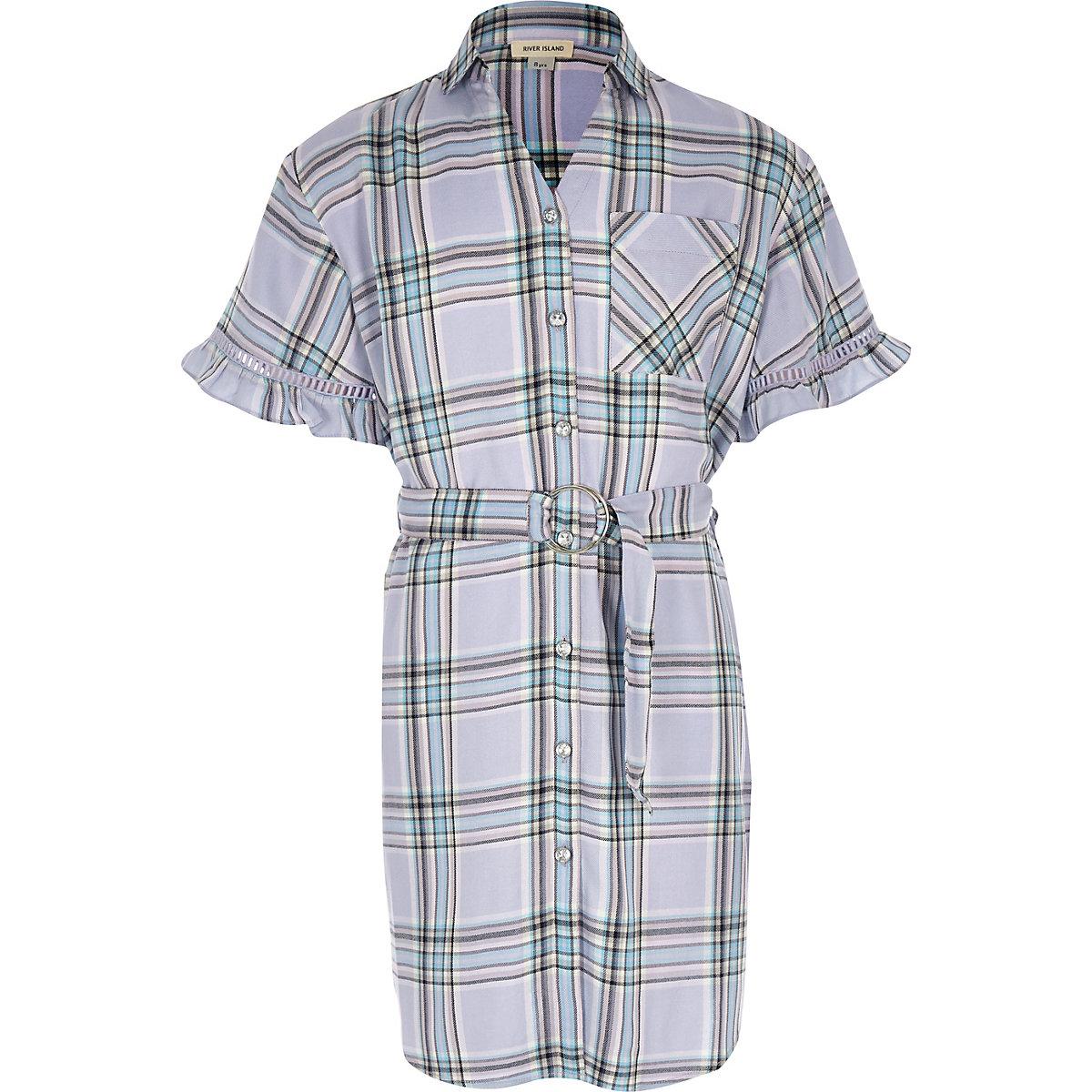 Girls purple check belted shirt dress