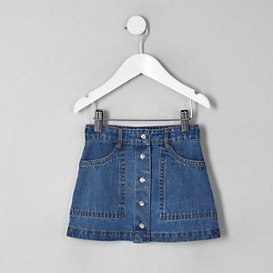 Mini girls blue A line denim skirt