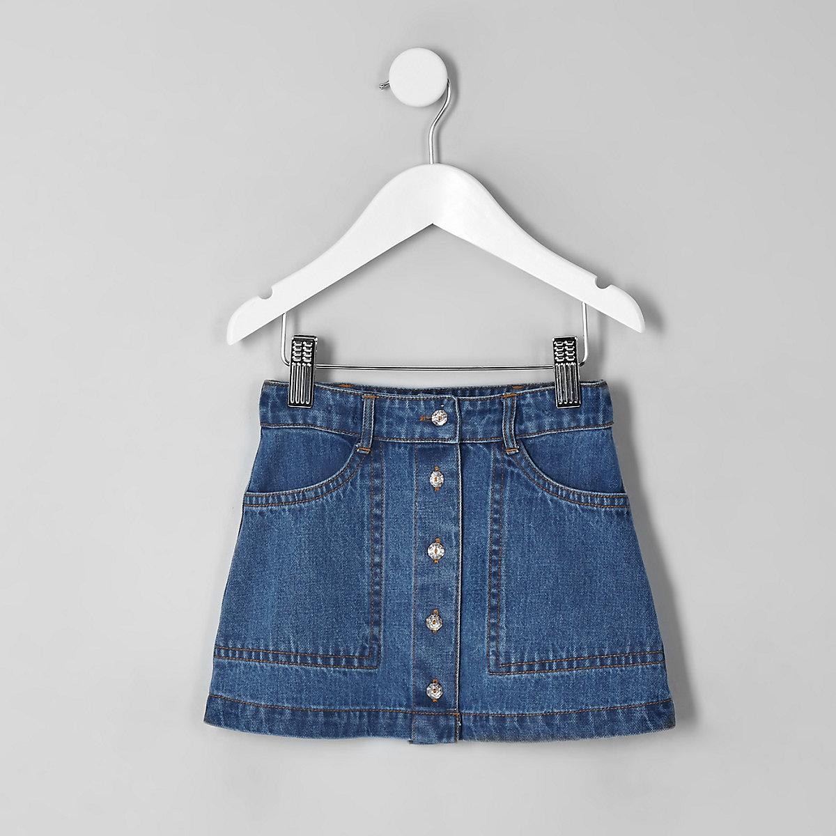 Mini girls blue A line denim skirt