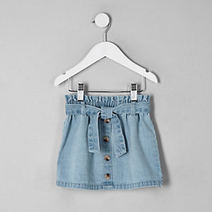 Mini girls blue paperbag denim skirt