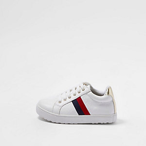 Mini girls white RI monogram stripe plimsoll