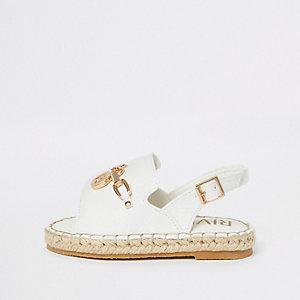 Weiße Espadrille-Sandalen in Kroko-Optik