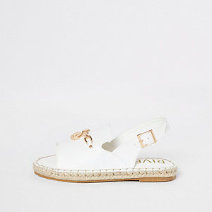 Girls white espadrille peep toe sandals