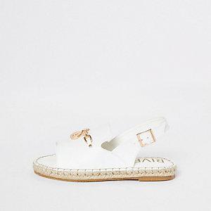 Girls white espadrille peep toe sandals