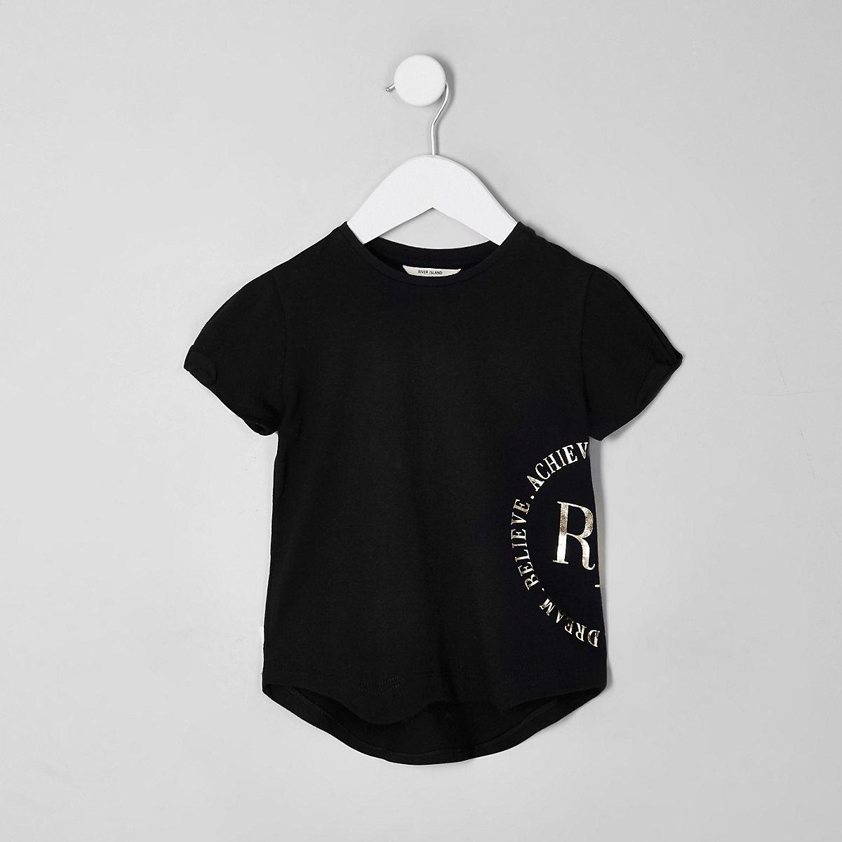 Mini girls RI Active black foil print T-shirt