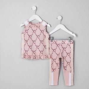 Mini - RI Active - Roze leggingoutfit met strik voor meisjes