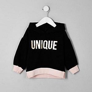 Mini - Zwarte hoodie met ballonmouwen voor meisjes