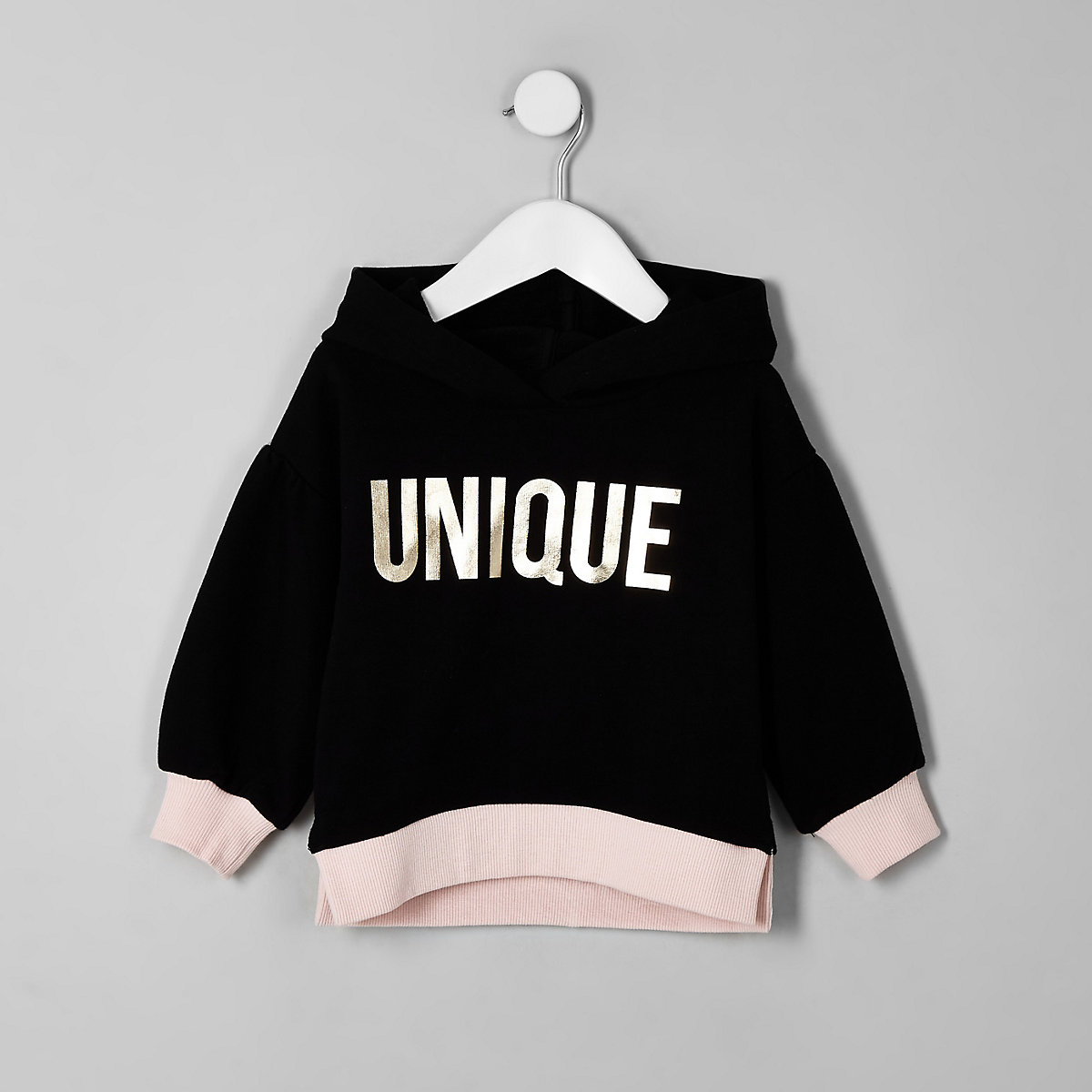 Mini girls black balloon sleeve hoodie
