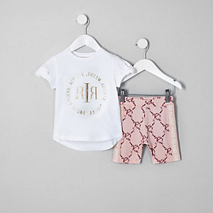 Mini girls RI Active white T-shirt outfit